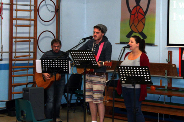 Matt, Abi and Andy Leading Worship